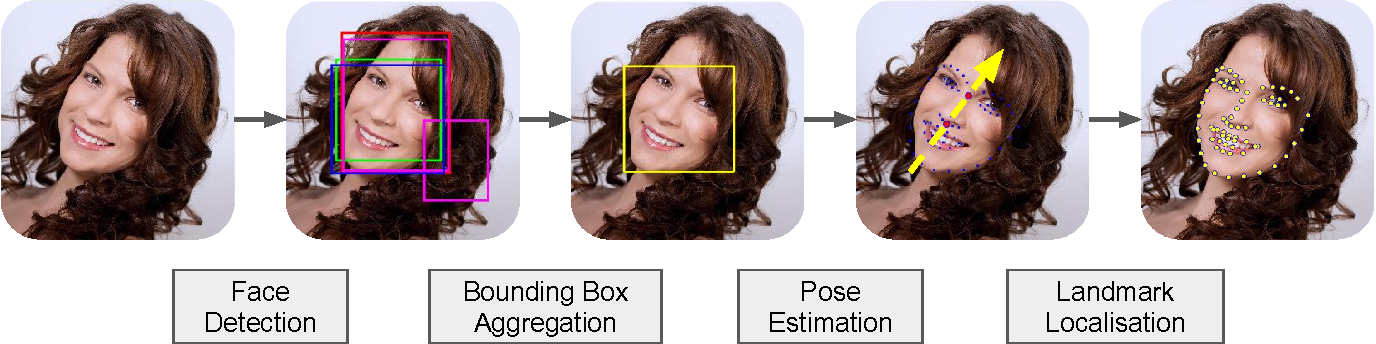 Figure 1 for Face Detection, Bounding Box Aggregation and Pose Estimation for Robust Facial Landmark Localisation in the Wild
