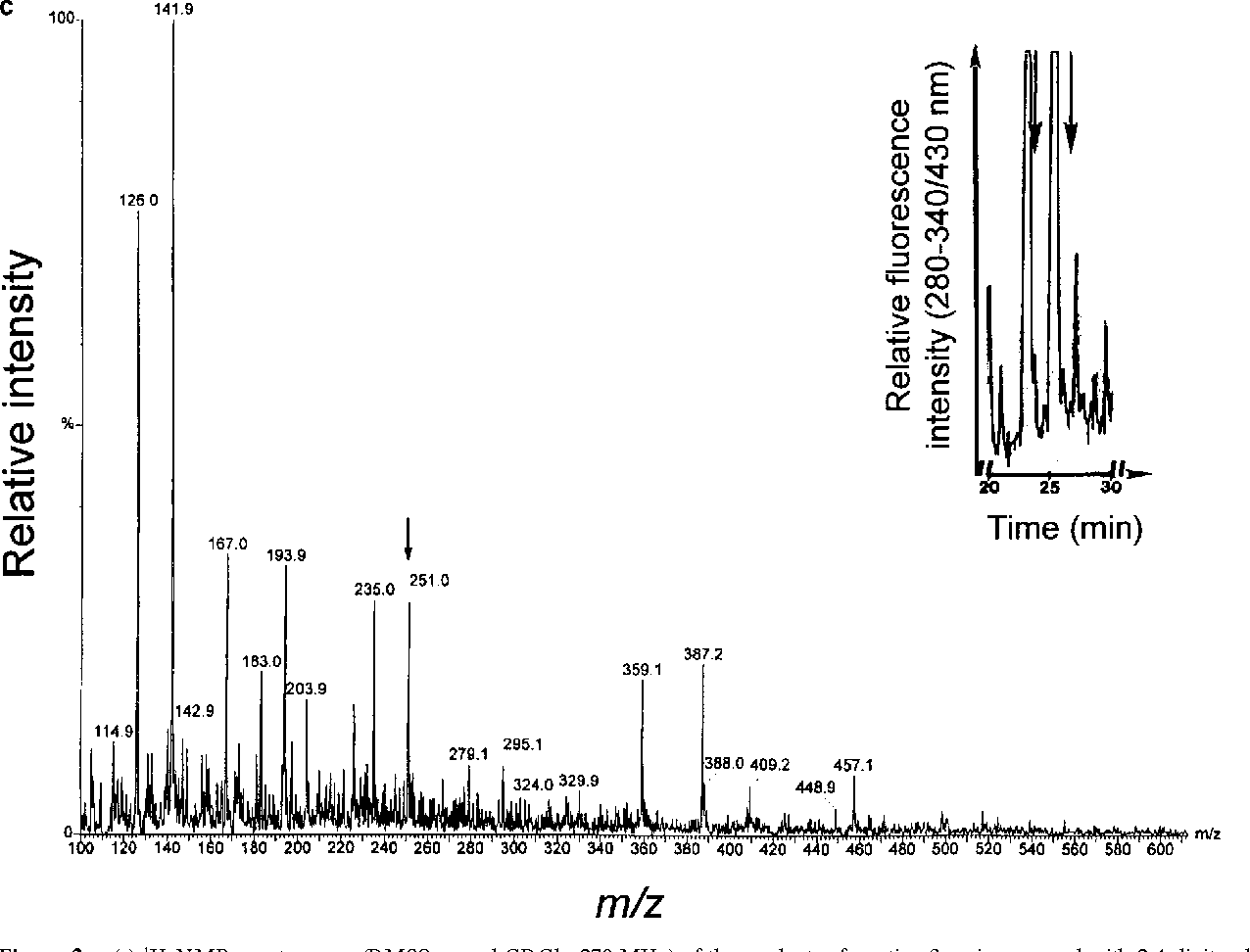 Figure 2. (a) 1H-NMR spectroscopy (DMSO-d6 and CDCl3, 270 MHz) of the products of reacting 3-aminopropanal with 2,4-dinitrophenylhydrazine. NMR revealed the presence of anti and syn isomers with resonance at d8.83 and d11.35. (Inset) Structure of the principle condensation products. (b) Electrospray ionization mass spectrum of synthetic dansylated 3-aminopropanal-2,4-dinitrophenylhydrazone. 3-aminopropanal was derivatized with 2,4- dinitrophenylhydrazine and dansyl chloride, and the reaction products were subjected to HPLC as outlined in Materials and Methods. The inset shows the HPLC profile of the separable geometric isomers. Note that the EIMS of the HPLC-purified fractions revealed the expected molecular ion at m/z 251. (c) EIMS of derivatized ischemic brain homogenate. Animals were subjected to permanent focal cerebral ischemia and after 25 h, brain tissue was obtained for homogenization and derivatization as described in Materials and Methods. The inset shows the HPLC profile, and the mass spectrum confirms the expected molecular ion of the HPLC-purified fractions at m/z 251.