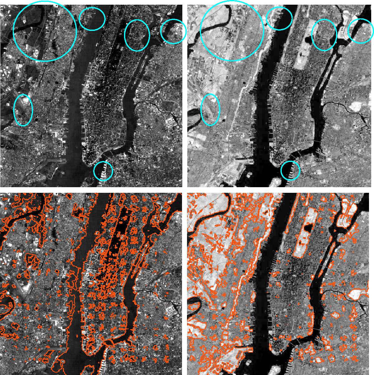 Figure 36. Monosensory segmentation of the aerial images of visible blue band (left) and IR (right) of New York City after 2000 iterations with a step size of 0.1. Top: original images. Bottom: the images showing the final snakes.