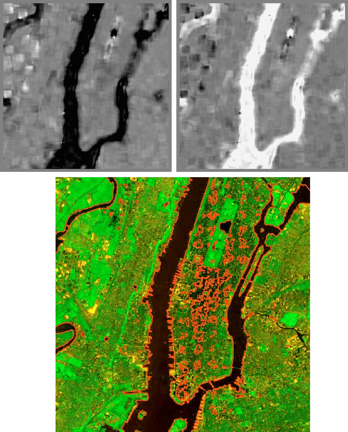 Figure 37. Multisensory segmentation after 2000 iterations with a step size of 0.1. Top: weights on the blue and IR images, respectively. Bottom: Segmentation using the developed algorithm with WLW.