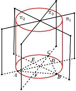 Figure 2 for Geometric Interpretation of side-sharing and point-sharing solutions in the P3P Problem