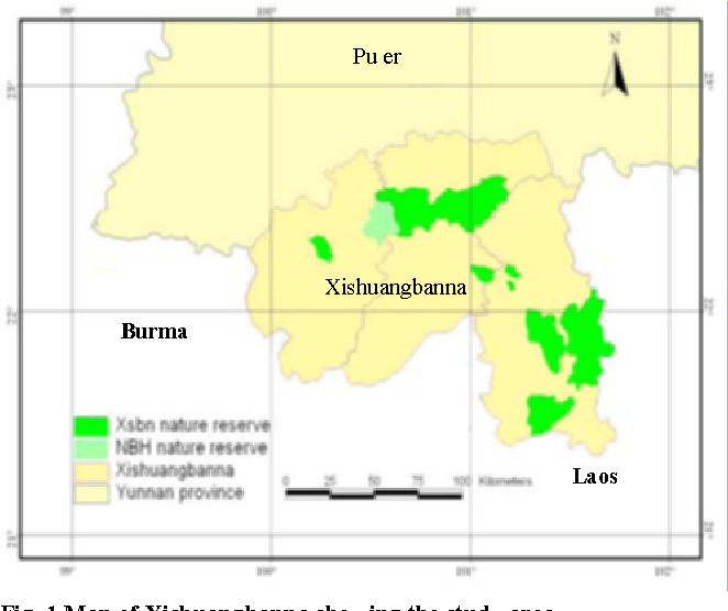 Fig. 1 Map of Xishuangbanna showing the study area