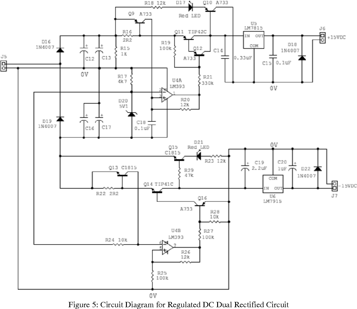 figure 5: circuit diagram for regulated dc dual rectified circuit