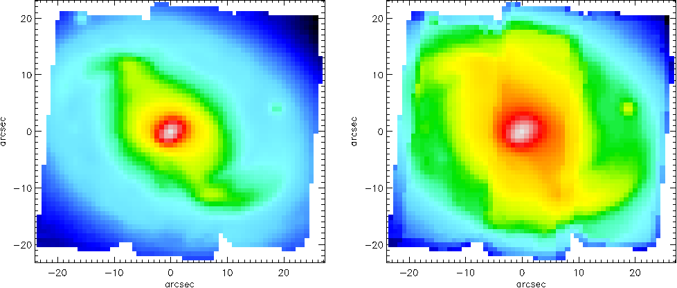Figure 1. SAURON observation of the barred Sa galaxy NGC 2273, based on two 4×1800 s pointings. The field-of-view is 49′′×44′′, with an effective spatial sampling of 0.′′8× 0.′′8. Left panel: reconstructed total intensity. Right panel: S/N-map, the S/N being integrated along the whole SAURON spectral range. Red corresponds to an average S/N≈50 per resolution element. Note the galaxy spiral arms, as well as the two vertical S/N jumps close to the middle of the frame and the irregular boundaries due to the merging process of the different exposures.