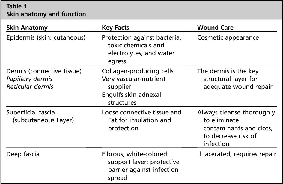 Table 1 from Essential concepts of wound management. - Semantic Scholar