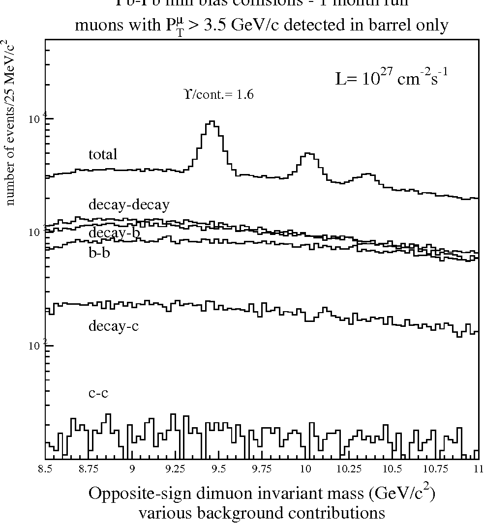 Figure 9: Opposite-sign dimuon mass spectra obtained with Pb beam in one month, together with the different background contributions.