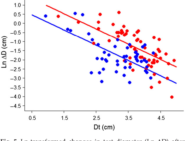 Fig. 5 Ln-transformed changes in test diameter (Ln ΔD) after 17 months vs. the modeled original diameter at time zero (Dt) of Echinometra sp. C at the vent site (red) and control site (blue) at Upa-Upasina.