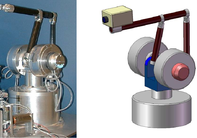 Figure 3. (Left) Virtual Environment Apparatus used as an encoding arm. (Right) CAD illustration of experimental sensing system