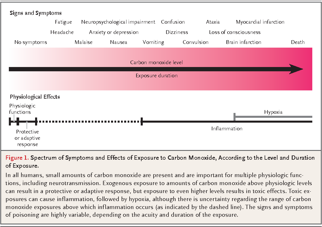Figure 1 from clinical practice carbon monoxide poisoning figure 1 spectrum of symptoms and effects of exposure to carbon monoxide according to sciox Gallery