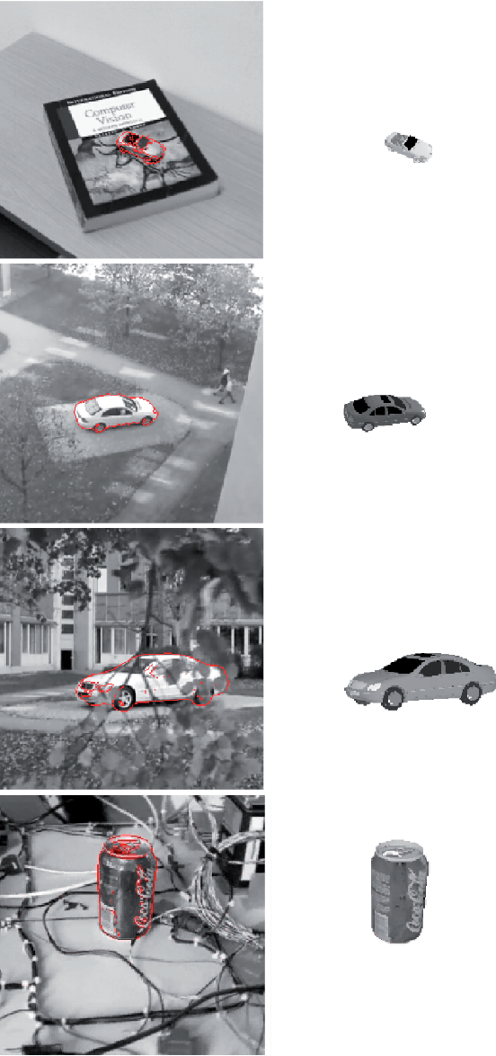Figure 10. Selected frames from four different registration sequences and the recovered 3D models.