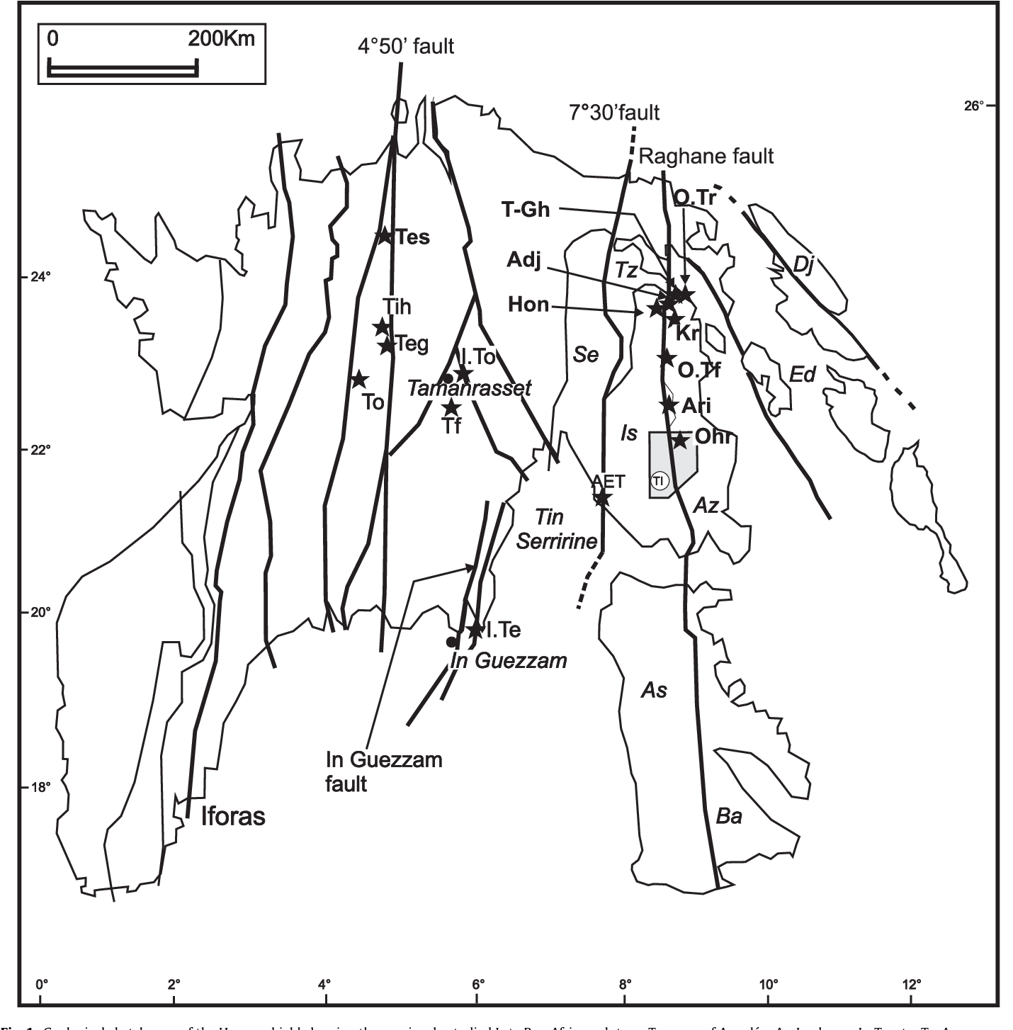 Eburnean and Pan-African granitoids and the Raghane mega-shear zone