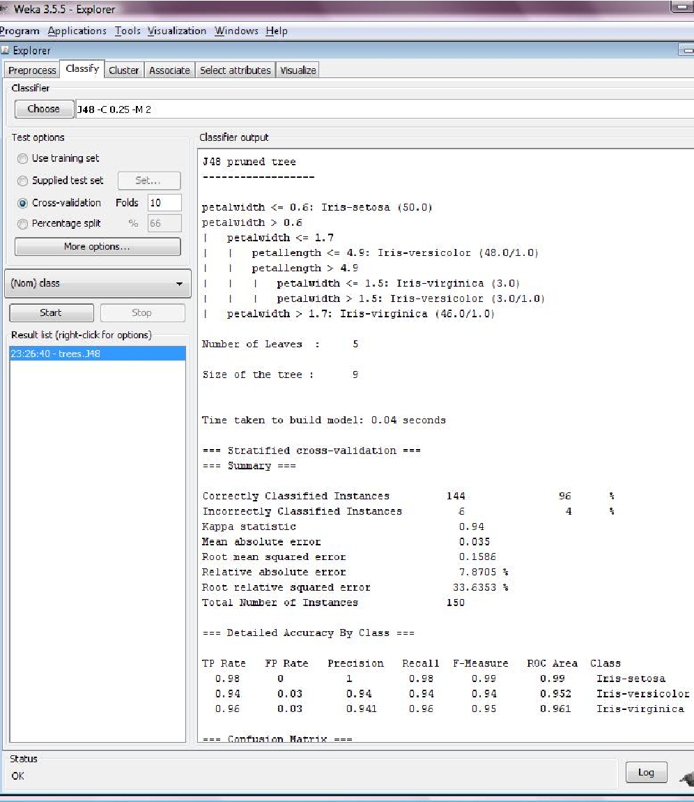Figure 2: The 'Classify' panel. J48 classifier with corresponding parameters used, evaluated with 10-fold cross validation. In the output pane a textual representation of the build classifier and some statistics are shown.