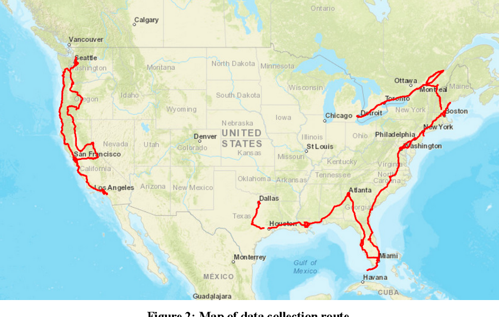 Figure 3 for Standalone and RTK GNSS on 30,000 km of North American Highways