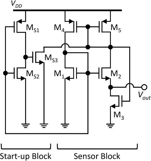 figure 1 from a sub µw, 1 0v cmos temperature sensor circuitFigure 1 Sensor Circuit #16