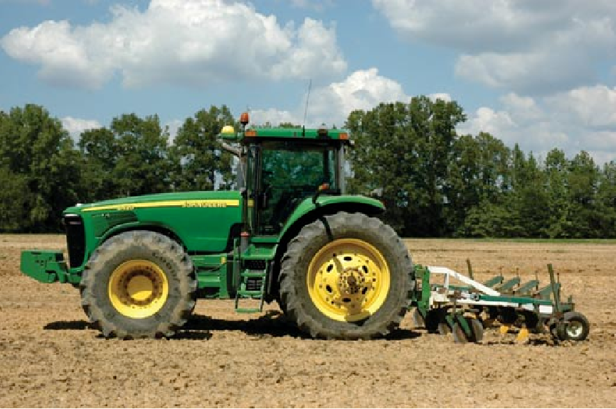 Figure 15. John Deere 8420 with four-shank ripper attached.