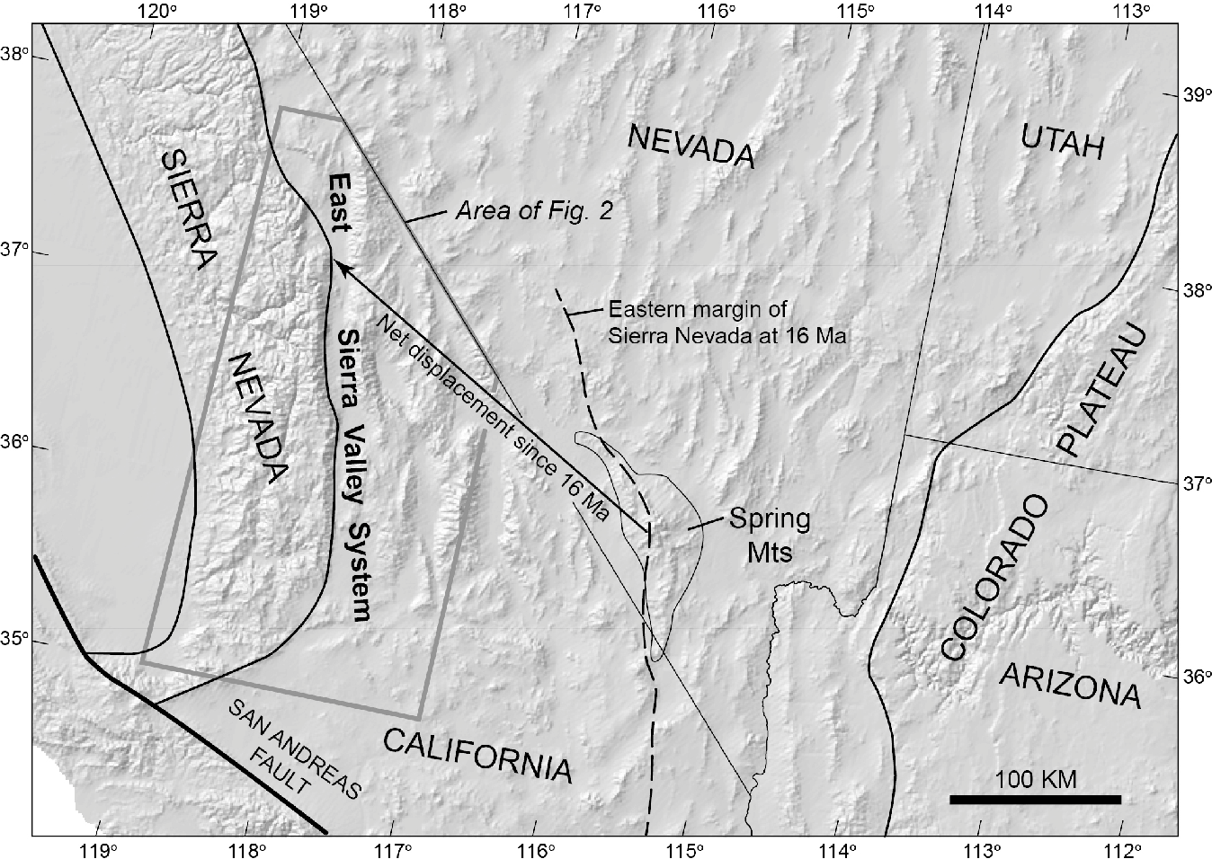 Figure 1 From Structural Evolution Of The East Sierra Valley System