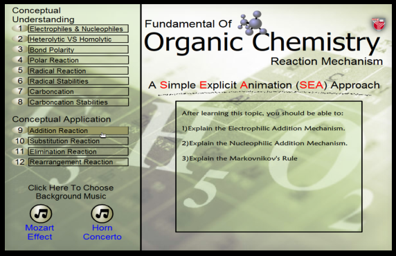 Implementing the SEA application for organic chemistry