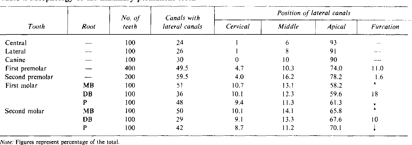 Table I From Root Canal Anatomy Of The Human Permanent Teeth