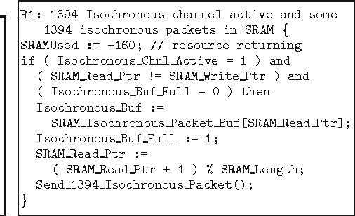"""Fig. 7. Snippets of one rule in the submachine named """"judging and sending 1394 isochronous packets"""""""