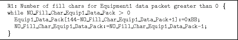 Fig. 1. Snippets of sample rule named while and the data type of arrays