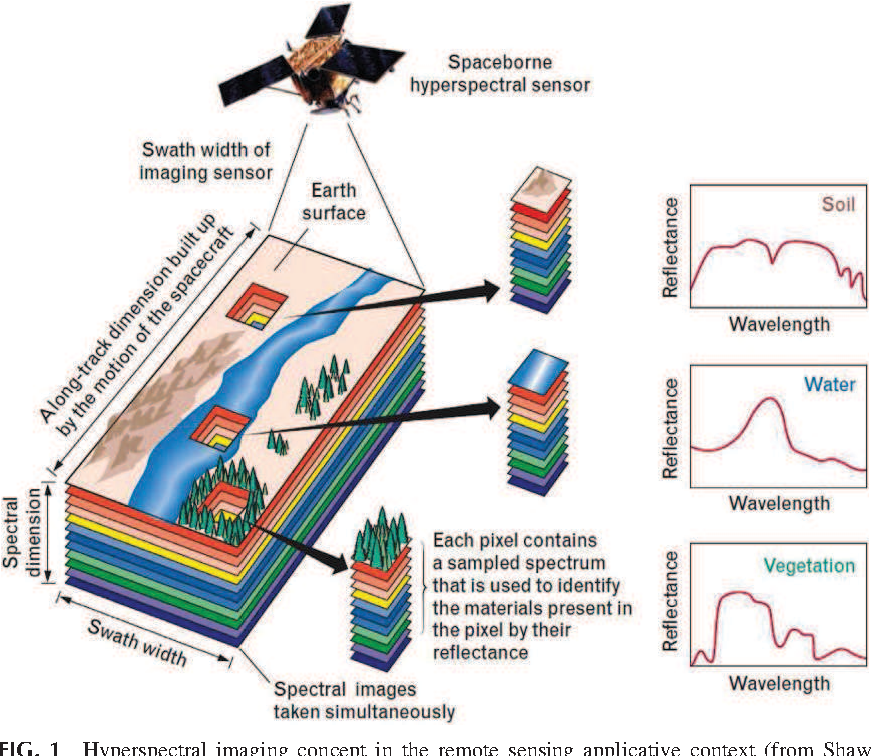 FIG. 1 Hyperspectral imaging concept in the remote sensing applicative context (from Shaw GA, HK Burke. Spectral imaging for remote sensing. Lincoln Labor J 2003;14(1):3-28).