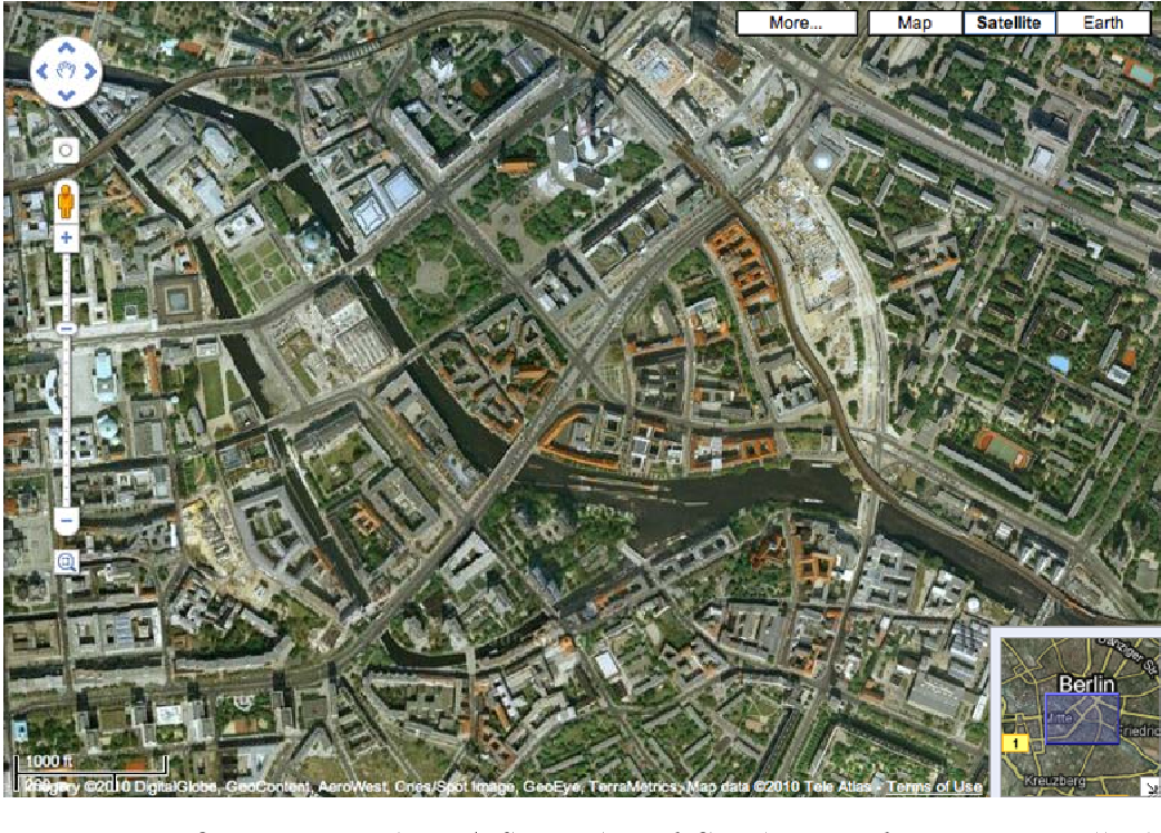 Figure 3.1: Overview Window: A Screenshot of Google Maps featuring a small additional window in the bottom right corner, that gives a broader overview and marks the current view port of the larger detail view.