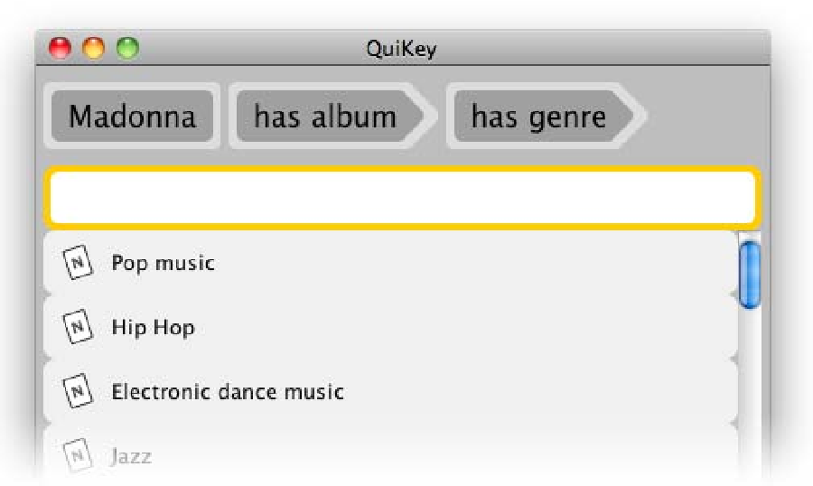 Figure 5.3: Set-based Browsing: Going from the above set of all albums of Madonna to all genres of these albums.