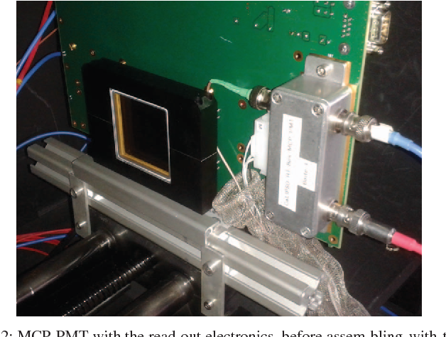 Fig. 2: MCP-PMT with the read-out electronics, before assem-bling with the crystal.