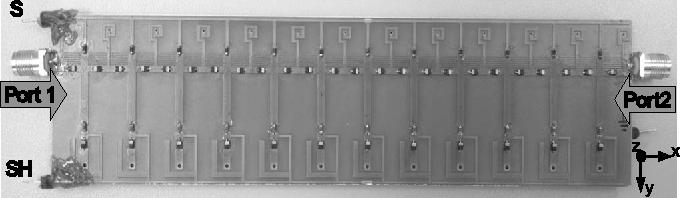 Fig. 5. CRLH LWA with RF input ports and S-SH DC bias. L = 15.6 cm, H = 3.8 cm.