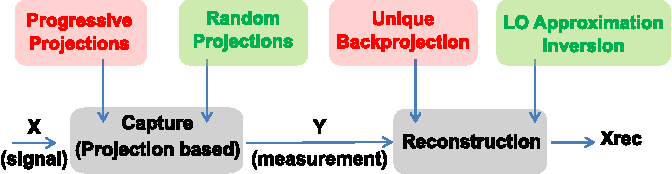 Figure 1 for Progressive versus Random Projections for Compressive Capture of Images, Lightfields and Higher Dimensional Visual Signals