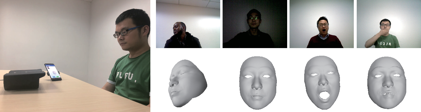 Figure 1 for Self-supervised CNN for Unconstrained 3D Facial Performance Capture from an RGB-D Camera