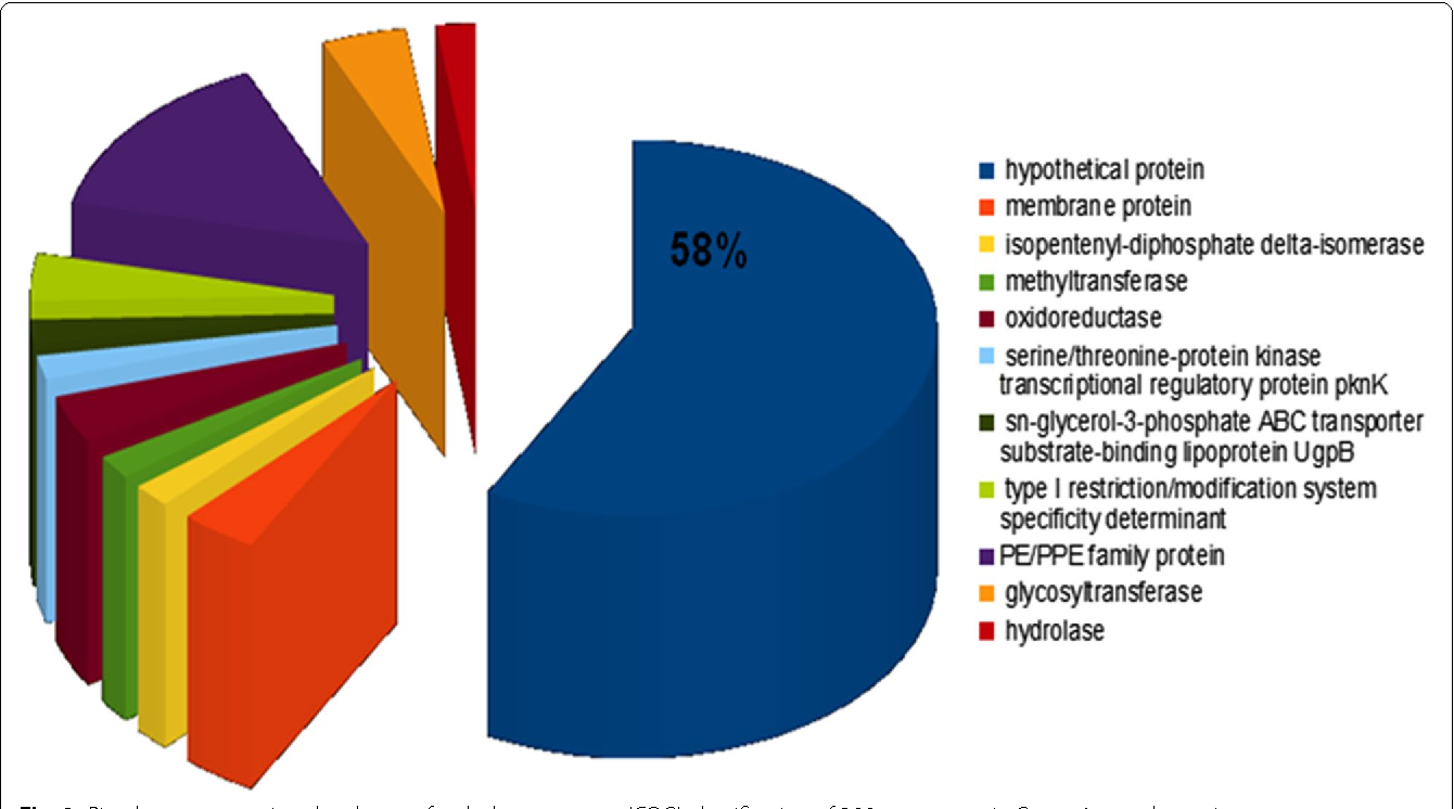 Fig. 2 Pie-chart representing the cluster of orthologous genes (COG) classification of 290 core genes in Group 1 mycobacteria