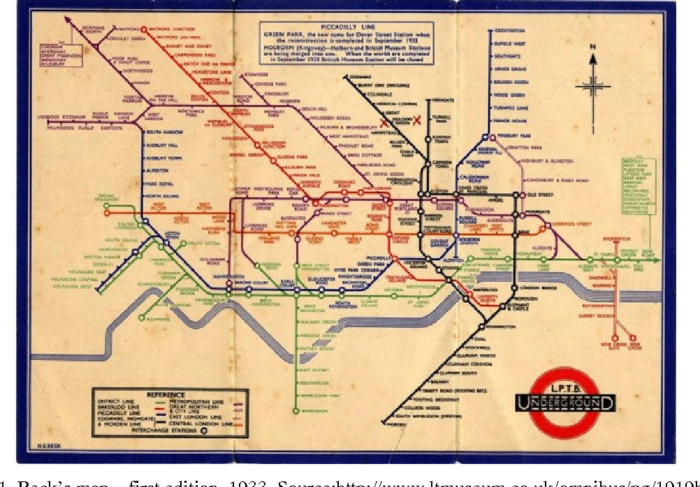 Map Of London Underground System.Figure 1 From Beck S Representation Of London S Underground System