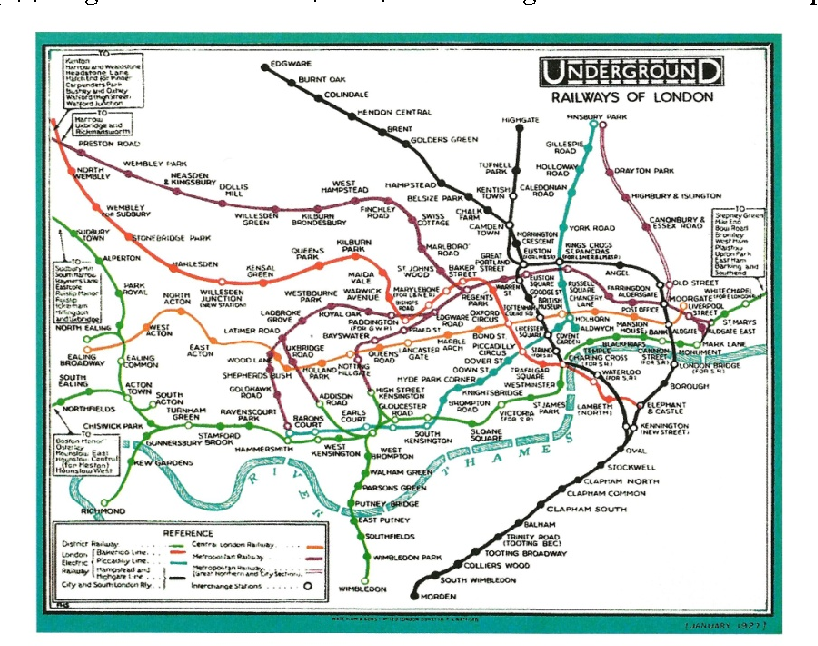 Map Of London Underground System.Figure 7 From Beck S Representation Of London S Underground System