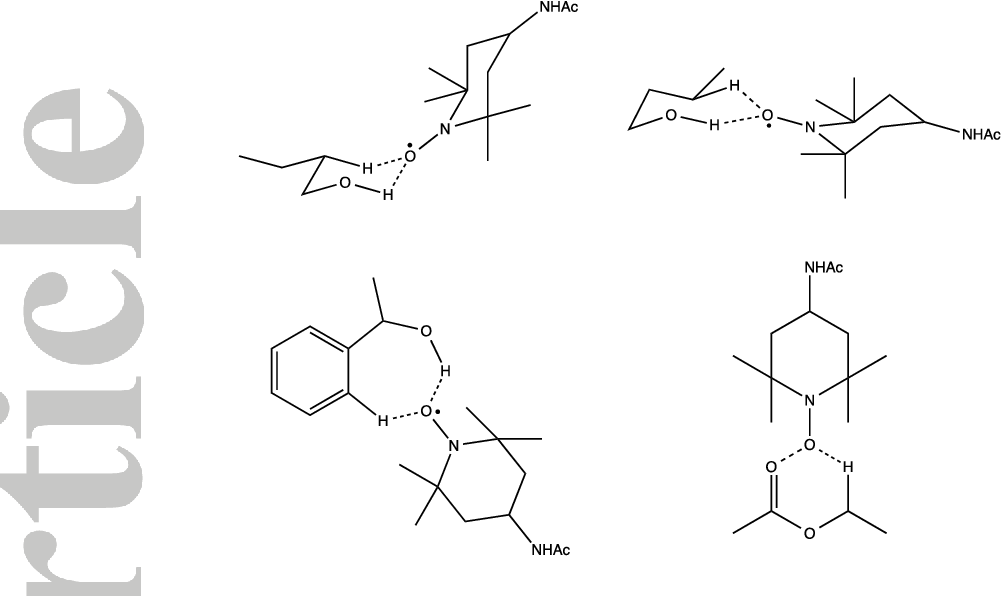Figure 7. Selected proposed associations of nitroxide and substrate.