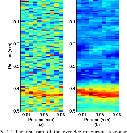 Figure 3. (a) The real part of the pyroelectric current response of a CNS crystal in a high noise electrical environment, the occasional high current spikes make it more difficult to interpret the obtained current map. (b) After applying the conditional averager using a sliding 3x3 window, the apparent noise level of the image is dramatically reduced.