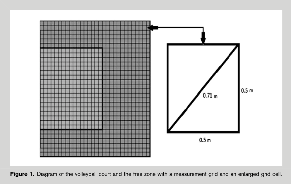 figure 1  diagram of the volleyball court and the free zone with a  measurement grid