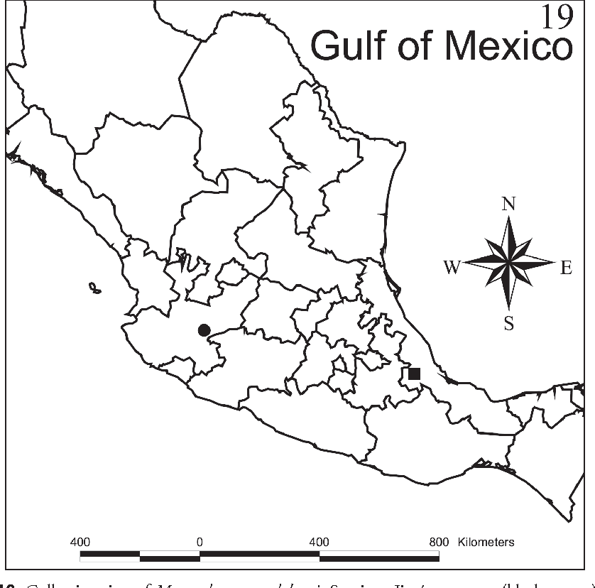 Figure 19. Collection sites of Myrmedonota cordobensis Santiago-Jiménez, sp. n. (black square) and M. jaliscensis Santiago-Jiménez, sp. n. (black circle).
