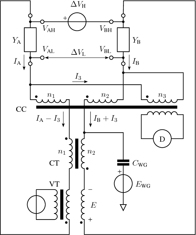 schematic diagram of the current comparator bridge, in a non-