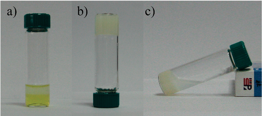 Figure 1. Photographs recorded for 10.0 wt % aqueous solutions of (a) m-PDMA42-PNIPAM37, (b) m-PDMA105-PNIPAM106, and (c) m-PDMA105-PNIPAM244 multiblock copolymers at 60 C.