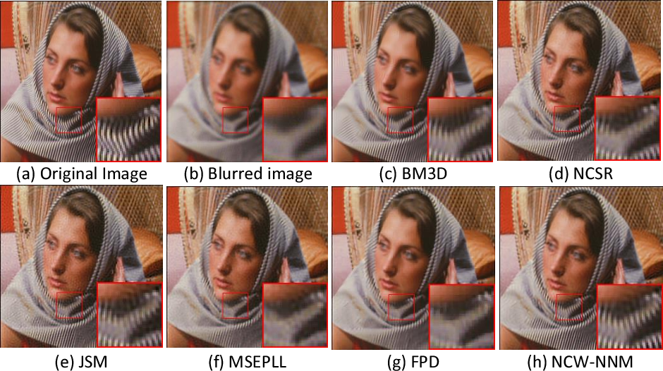 Figure 4 for Non-Convex Weighted Lp Nuclear Norm based ADMM Framework for Image Restoration