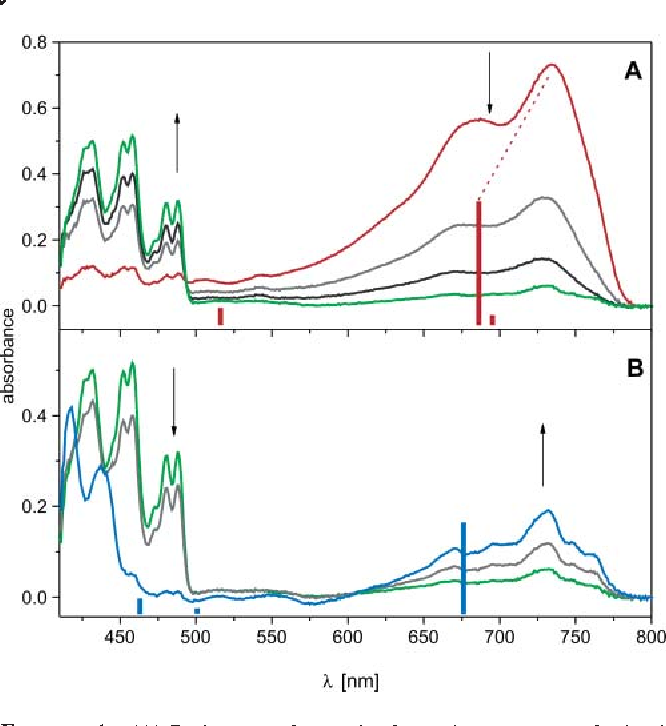 FIGURE 1. (A) Red trace: electronic absorption spectrum obtained on radiolysis of anthralin 1 embedded in an MTHF glass at 77 K (0.02 M solution, radiation dose 2.5 kGy, optical path 2 mm). Gray and black traces: decay of 1•- and buildup of 2- (bands at 400-500 nm) on annealing at 90-95 K. (B) Spectral changes observed on further annealing of an MTHF glass already containing 2- (green spectrum) at 95-100 K. The final blue spectrum is asssigned to 2• (see text). The red bars in (A) and the blue bars in (B) represent the results of the TD-DFT calculations for 1•- (Table 1) and 2• (Table 3), respectively.