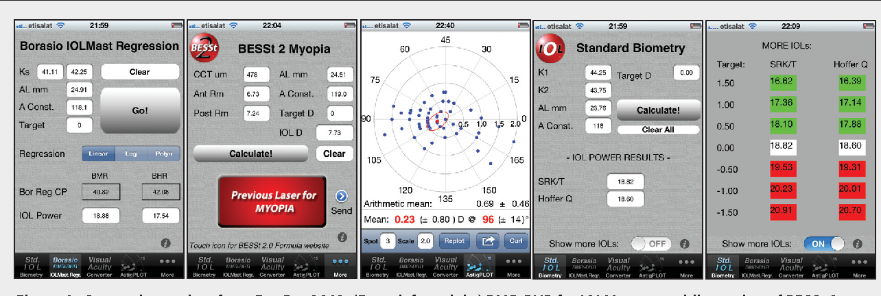 Figure 1. Screenshots taken from Eye Pro 2012: (From left to right) BMR-BHR for IOLMaster, mobile version of BESSt 2 myopia, double-angle polar plot showing the average surgically induced astigmatism in a group of eyes, standard