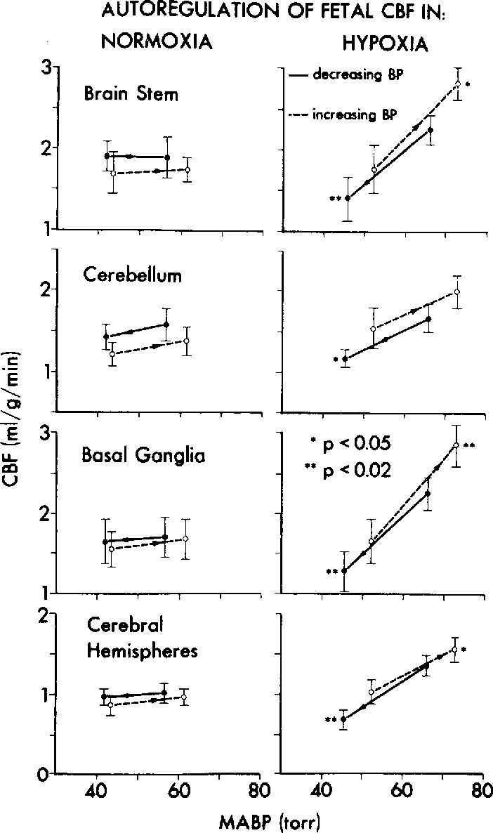 Fig. I. Autoregulation of fetal regional cerebral blood flow in normoxia and hypoxia. The vertical bars represent the standard deviations of the means. The direction of the arrows indicates decreasing blood pressure (BP) or increasing BP. Thus solid lines are decreasing BP, hatched lines increasing BP. Abbreviations are as in Table 1.
