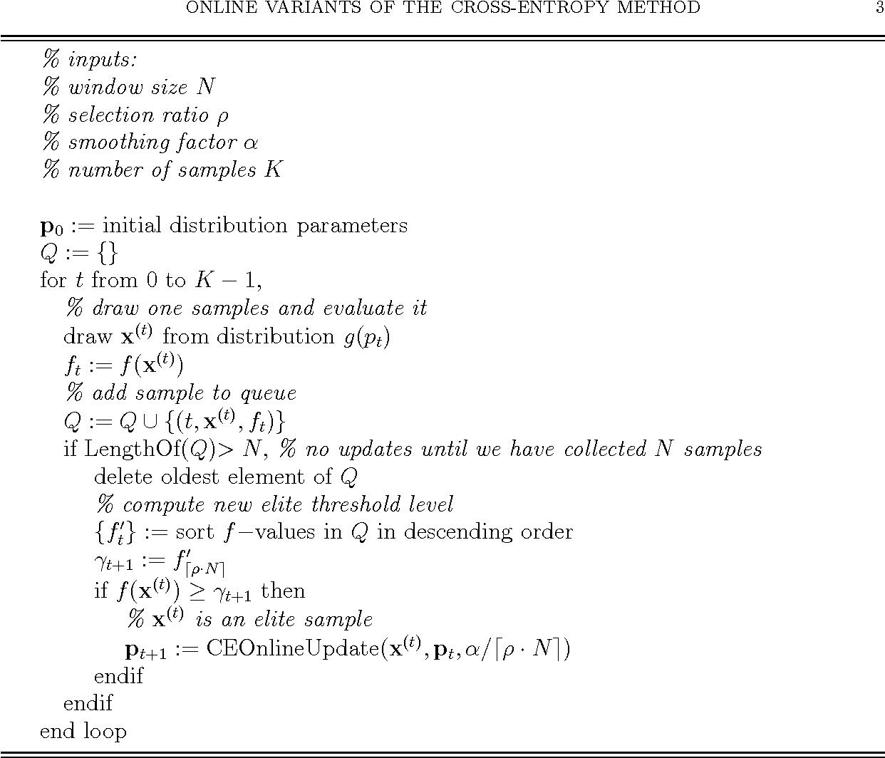 Figure 2 for Online variants of the cross-entropy method