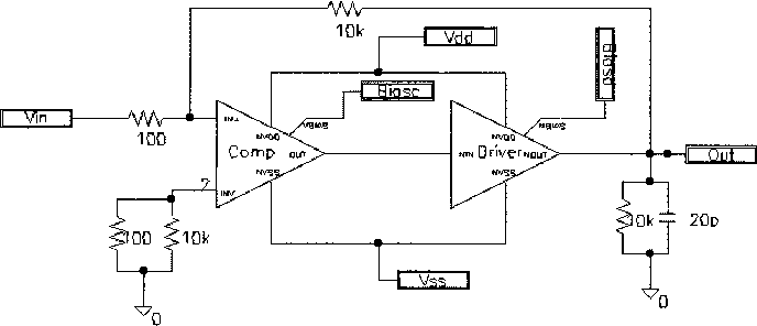 Fig. 5. Input offset and frequency response test circuit.
