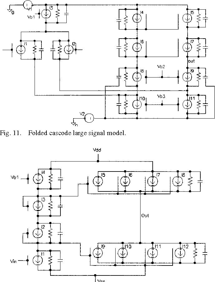 Fig. 11. Folded cascode large signal model.