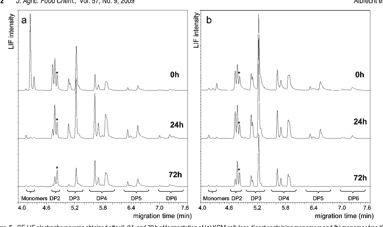 Figure 5 CE LIF Electropherograms Obtained After 0 24 And 72 H