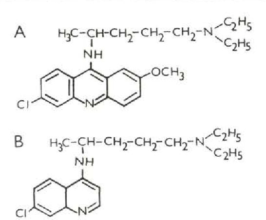 Fig. 1. Chemical structure of mepacrine (a) and chloroquine (b).