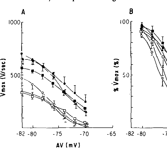 FIGURE 4. Membrane responsiveness curves of five adult free-running Purkinje fibers (•, O), five young free-running Purkinje fibers (A, A), and five adult subendocardial Purkinje fibers (M, D). The filled symbols indicate control values, and the unfilled symbols, those obtained in lidocaine, 6 mg/liter. Vma is expressed as V/sec (panel A), and as percent of its maximum value (panel B), and is plotted against the activation voltage (AV) of premature beats that were introduced at progressingly shorter intervals during repolarization. See text for description.